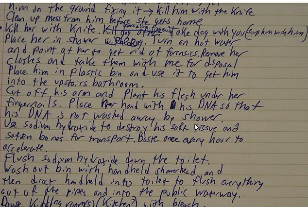 Before allegedly carrying out the heinous crime, Guy Jr meticulously plotted his every murderous move in a notebook, first detailing at great length how he would kill his mother and father, then how he would dispose of their remains, step-by-step