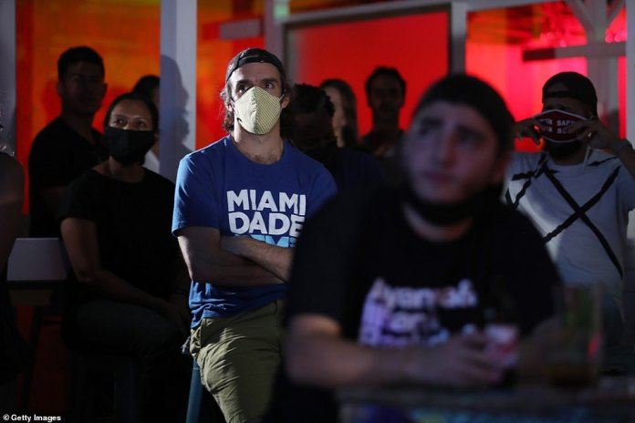 Dan Royles and other people watch at Gramps bar a streaming broadcast of the first debate between President Donald Trump and Democratic presidential nominee Joe Biden on September 29, 2020 in Miami, Florida
