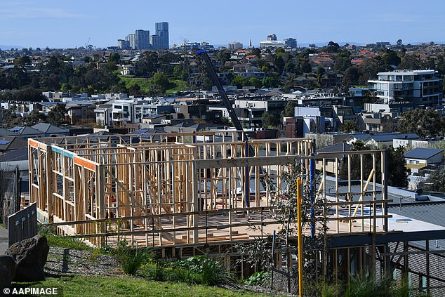 Labor's housing spokesman Jason Clare said the sharp fall in building approvals highlighted the failure of the HomeBuilder scheme. Pictured is a house under construction in Melbourne
