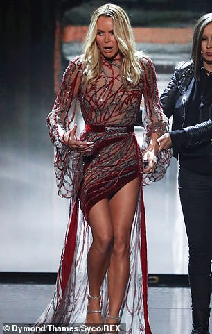 Legs for days: The TV star first made an impression in thigh-skimming gown by Ziad Nakad, showing off a liberal amount of leg thanks to the asymmetric hemline
