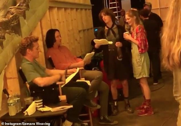 Footage:In the video, the 28-year-old actress is singing with Keanu and Alex on set of the film