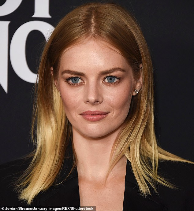 Never-before-seen:Samara Weaving (pictured) shared behind the scenes footage of her Bill & Ted Face the Music co-stars Keanu Reeves and Alex Winter singing on Monday