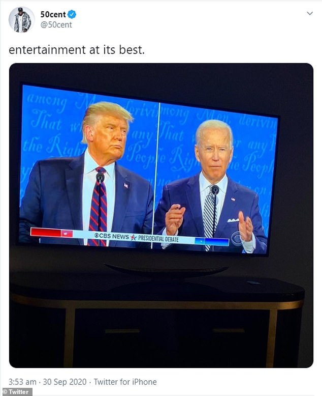 Rapper 50Cent shared a still from the debate before adding a caption that read: 'Entertainment at its best'