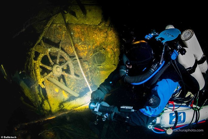 The wreck was found at the bottom of the Baltic Sea several dozen kilometers north of Ustka