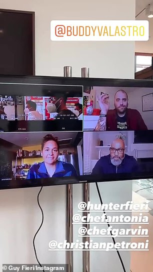 'Love you, brother, stay safe!' Buddy received virtual well wishes from his colleagues via Zoom - Chef Christian Petroni, Chef Antonia Lofaso, and Chef Gerry Garvin