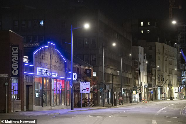 An empty Westgate Street in Cardiff, Wales after pubs, bars and restaurants were put under a 10pm curfew