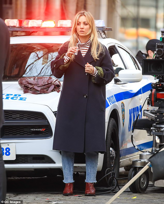 Back to work: Kaley is currently back on the set of her upcoming HBO series Max The Flight Attendant after COVID-19 suspended production in March;  Kaley pictured in March