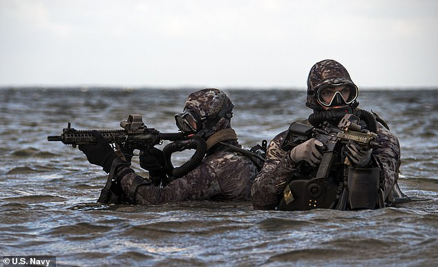 The Navy has removed gendered words including 'brotherhood' and 'man' from its official SEAL ethos, changing them to 'citizen' and 'warrior'.Navy SEALs pictured in 2019
