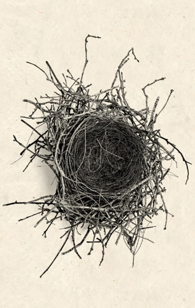 The pieces behind the couple are photographs of birds nests from Californian Barloga Studios, a photography and print studio owned by father-son duo Dennis and Roy Barloga