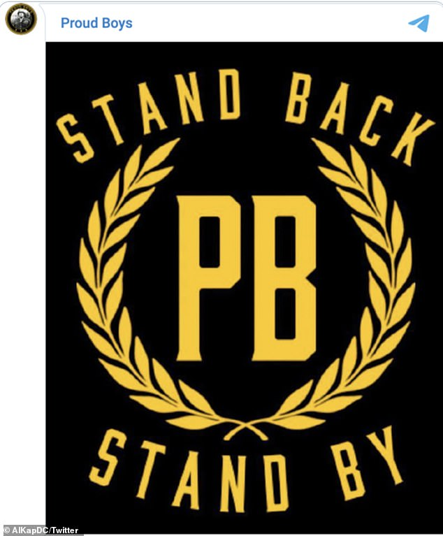 Following the shout out several members of the group appeared to pledge their allegiance to the president. One social media account connected to the organization even appeared to made 'Stand back. Stand by' part of a new logo