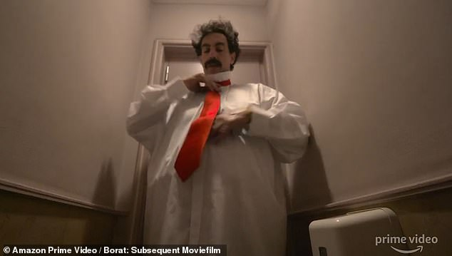 Borat disguises himself as Trump for his political prank in the film