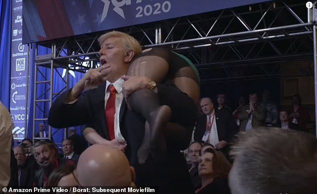 The hilarious trailer to Borat 2 released Thursday reveals Sacha Baron Cohen was the Trump impersonator who crashed Mike Pence¿s CPAC speech in February. Baron Cohen pictured in a Trump mask and suit with his daughter in the movie over his shoulder shouting, 'Michael Pennis I¿ve brought the girl for you!'