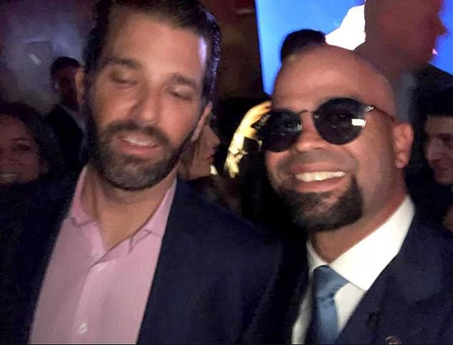 National chairman of the Proud Boys, Enrique Tarrio has close ties with the GOP and was previously pictured with Donald Trump Jr. He posted this photo online captioned, 'Blurry but at least we spoke about the rampant censorship of conservatives'