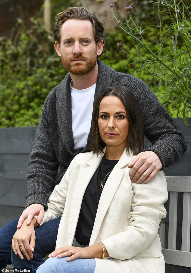 Emma Kemsley, 33 and husband James, 37 of Newport in Essex. Jane had to have a medical termination following complications with the pregnancy but James was not allowed to attend the hospital with her