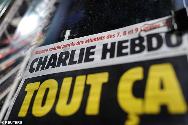 Friday's speech came as a trial continued in Paris over the murderous January 2015 attacks on satirical newspaper Charlie Hebdo (above) and a kosher supermarket by a French-born Islamic extremist.