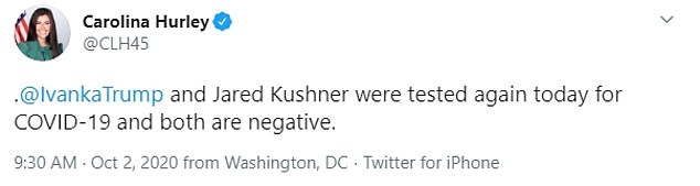 Confirmation: The 38-year-old's spokesperson Carolina Hurley confirmed that Ivanka and Jared were tested on Friday morning and both were negative.