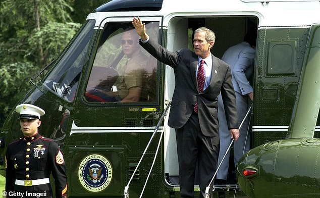 President George W. Bush boards Marine One as he departs the White House June 28, 2002 in Washington, D.C. Bush ransferred power to Vice President Dick Cheney when Bush underwent a colonoscopy