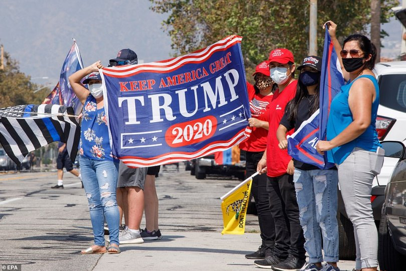 Trump supporters in California rallied on Sunday