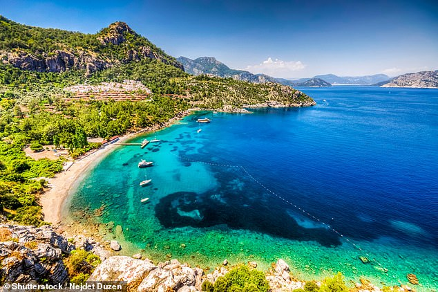 It remains unclear what caused Mr Molloy's death but it is understood he was in Turkey for a teeth whitening procedure. Pictured: Turunc Bay in Marmaris