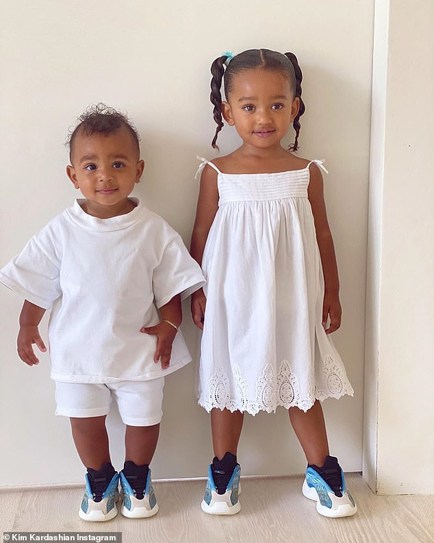 Just two peas in a pod!Kim Kardashian shared a precious slideshow of 'best friends' Chicago and Psalm wearing matching outfits on Monday