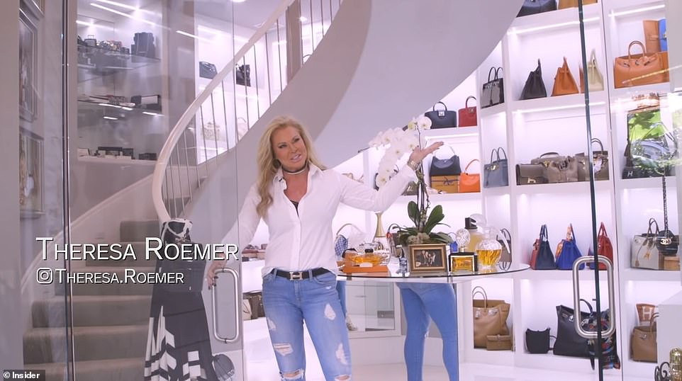 Texas socialite Theresa Roemer is giving up her famous three-story closet after a buyer agreed to purchase the $6.5million mansion it's housed in last month. Pictured: Roemer gives a tour of her closet in an Insider video in April 2019