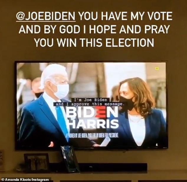Kloots concluded his rant with a video of a campaign ad for Trump's rival, writing: 'Joe Biden, you have my vote, and I hope and pray that you win this election'
