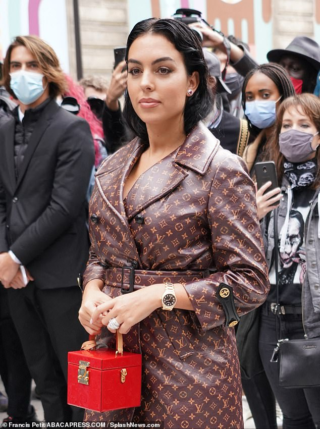 Serious arm candy: She carried a red £2310 Bleecker box bag by the fashion house