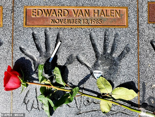 Vivid: Fans decorated Eddie's handprints at the Hollywood Guitar Center
