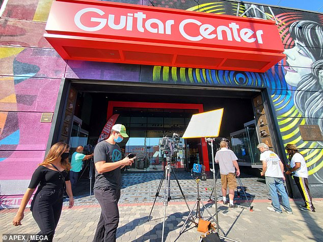 Tribute to the memory of Eddie Van Halen and handprints at the Hollywood Guitar Center