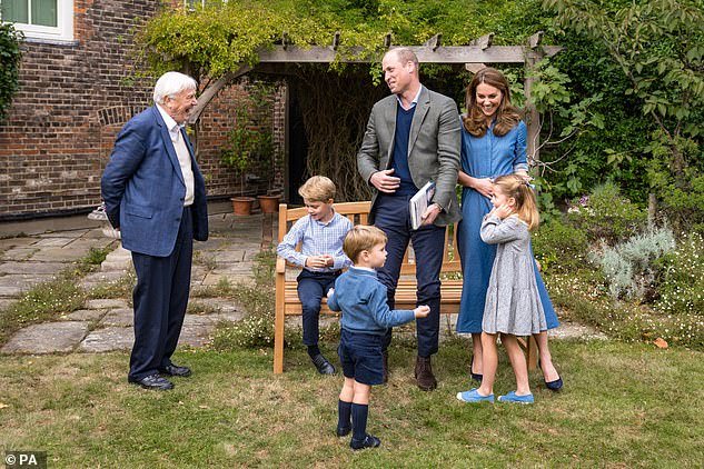 Sir David recently enjoyed a private viewing of his new documentary in the grounds of Kensington Palace with the Duke and Duchess of Cambridge, after their children requested to meet him