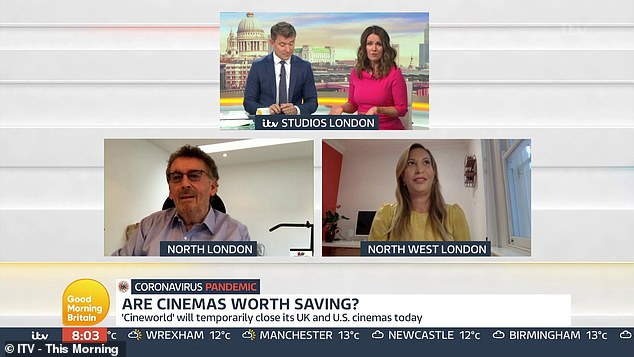 Robert Powell (bottom left) appeared on Good Morning Britain today alongside Game of Thrones actress Laura Pradelska (bottom right) to debate whether cinemas are worth saving during the pandemic