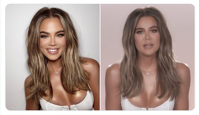 Captured: Last month eagle-eyed fans revealed how Khloe looked like she took a selfie with Photoshop;  on the left is the selfie, on the right is her on KUWTK