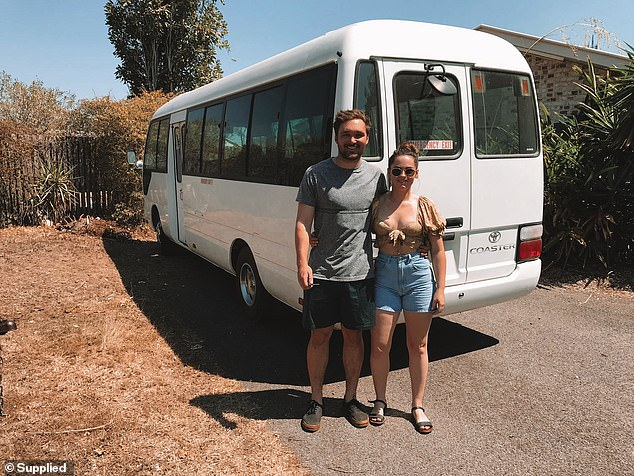A young Australian couple with limited renovation experience have transformed an old, rundown bus and turned it into fully-functioning stylish motorhome