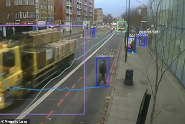 A capture from one of the AI cameras, which were fitted with the new feature after the lockdown in March, showing how they are able to spot individual pedestrians and cyclists
