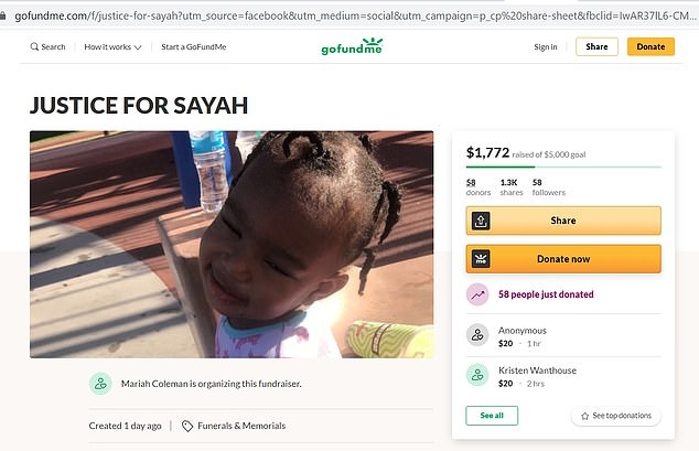 Sayah's mom posted a GoFundMe to help cover the costs of her daughter's funeral