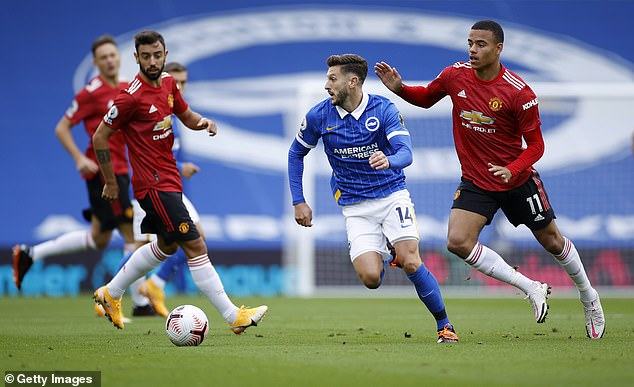 Lallana is now in the colours of Brighton and is seen playing against Manchester United