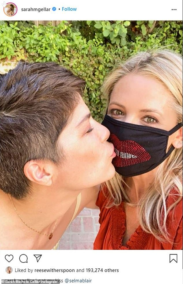 Mask on: Meanwhile, a few months ago, Sarah Michelle visited Selma for her birthday in June and resumed their Cruel Intentions kiss for Instagram