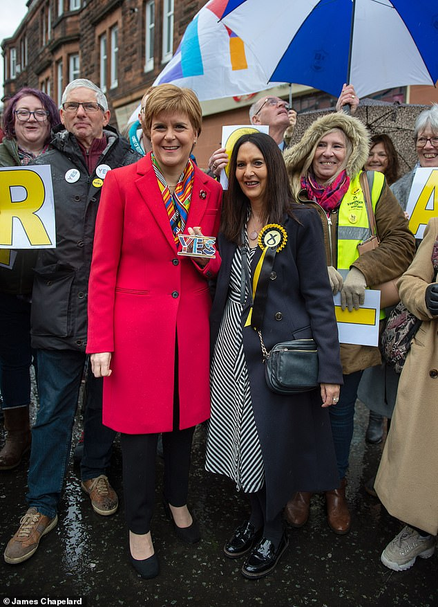 Ms Ferrier, 60, (pictured with Scottish Prime Minister Nicola Sturgeon) has yet to resign from the House of Commons despite being kicked out of the SNP's whip when she asked him to resign for putting people's lives in danger.