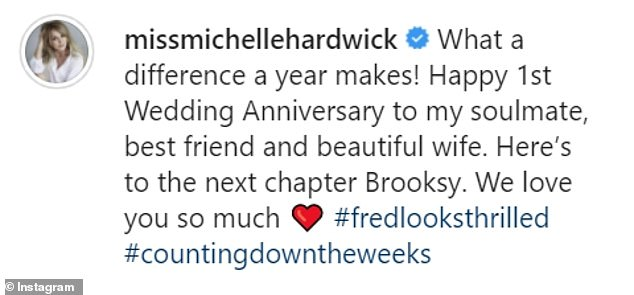 """She wrote: """"What a difference a year makes! Happy 1st wedding anniversary to my soul mate, best friend and beautiful wife '"""