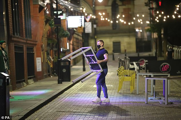 Meanwhile, bar staff were seen loading away chairs, tables and outdoor signs for what may well be the last time six months
