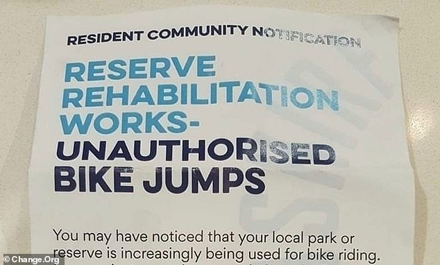 The municipality has issued a letterbox brochure (pictured above) warning local residents that the unauthorized bicycle jumps built on municipal reserves would be filled in and removed
