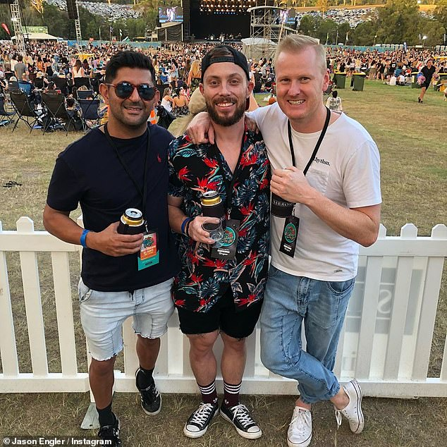 Fun: If Jason's social media accounts have anything going on, he's a fan of sports, music festivals, and workouts at the gym. Pictured center with two unidentified friends