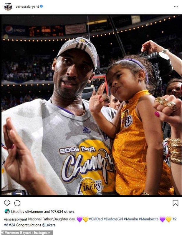 Vanessa then put up another post in memory of National Father-Daughter Day with a shot of Kobe walking into the court holding Gigi 11 years ago.