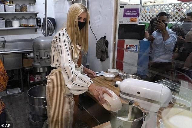Ivanka Trump helps bake cookies at American Way Market Cafe in Arizona on Sunday