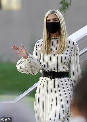 Ivanka arrived with a face mask