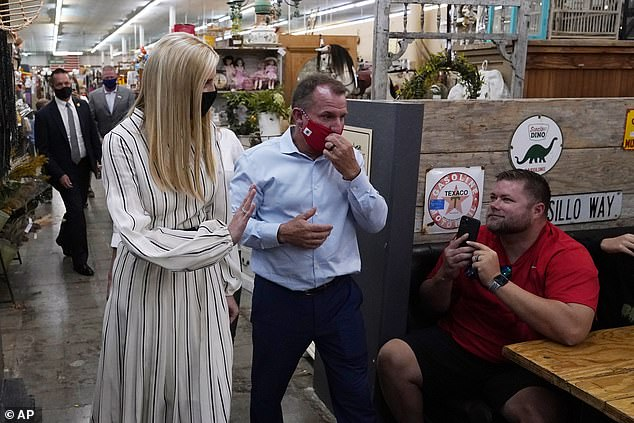 Ivanka greets customers as she visits American Way Antiques on Sunday