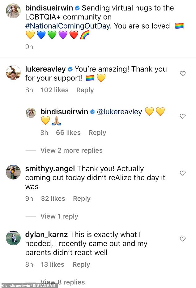Included: 'This is exactly what I needed, I was recently released and my parents didn't react well,' a young fan wrote in Bindi, with him immediately supported by his fan base.