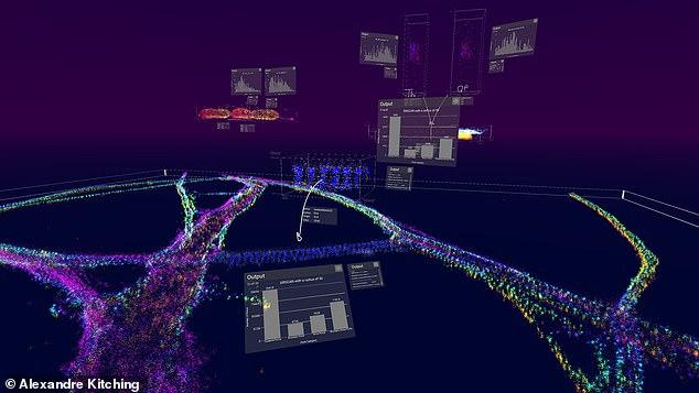 Die DBScan-Analyse wird als reifes Neuron in einem typischen vLUME-Arbeitsbereich durchgeführt. Forscher können ihre eigenen 2D-Daten in einer 3D-Umgebung visualisieren