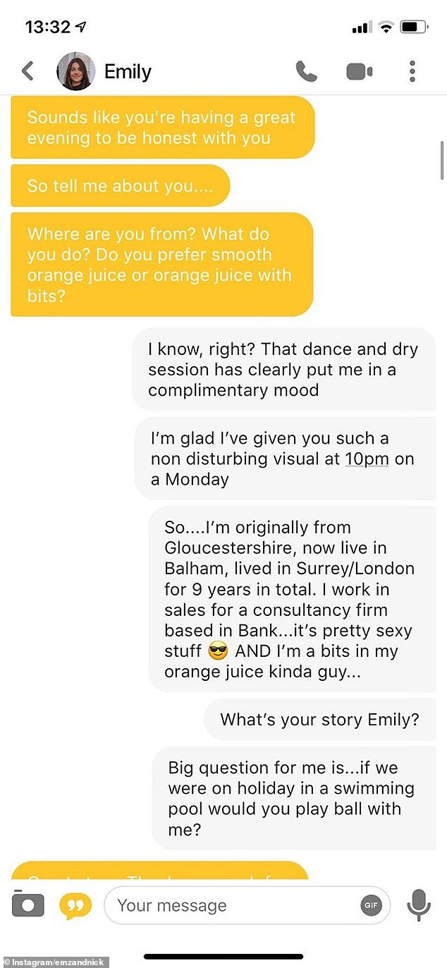 The couple fell for another after sharing flirty messages on Hinge and Bumble, but were unable to meet one another till nine months into their romance