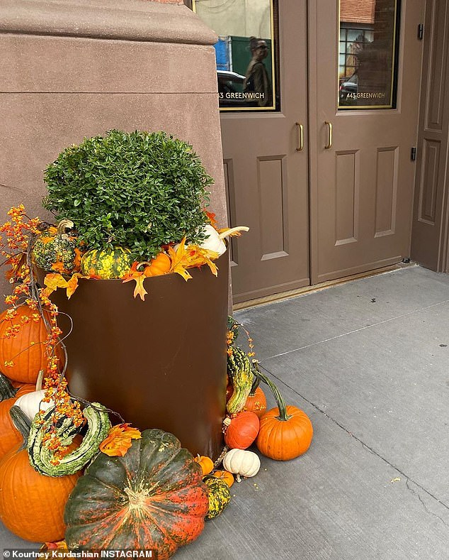 On Greenwich Street: Another showcased Halloween decorations outside a building